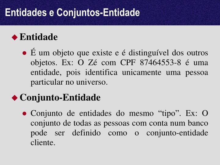 Entidades e Conjuntos-Entidade