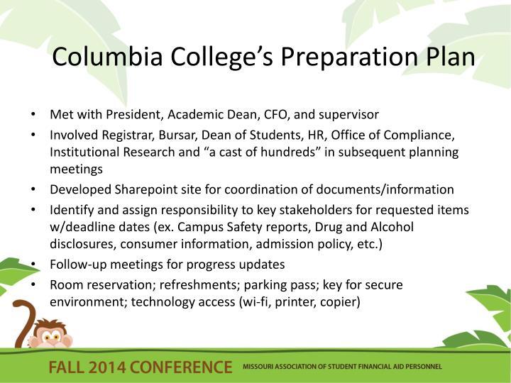Columbia College's Preparation Plan