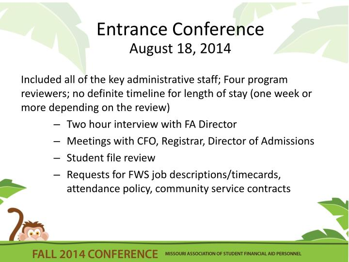 Entrance Conference