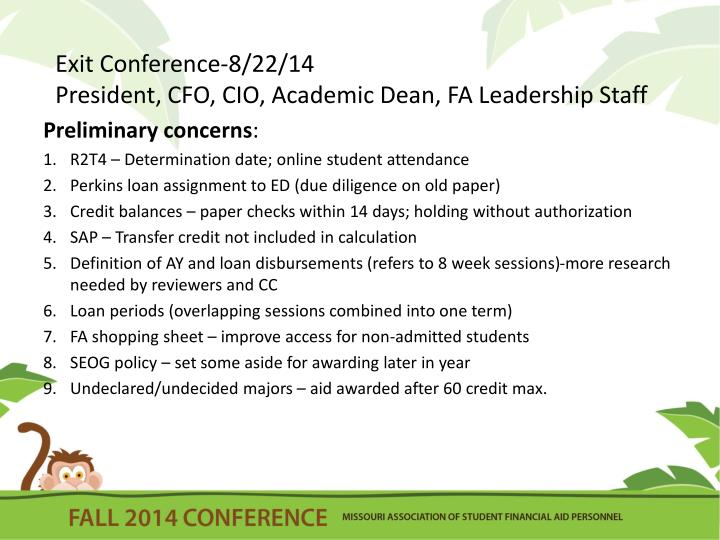 Exit Conference-8/22/14