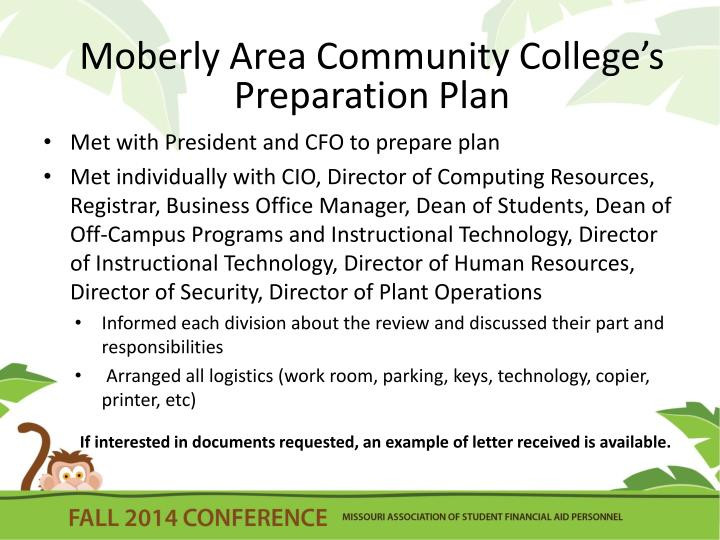 Moberly Area Community College's  Preparation Plan
