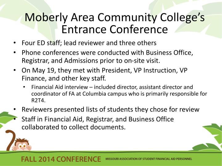 Moberly Area Community College's  Entrance Conference