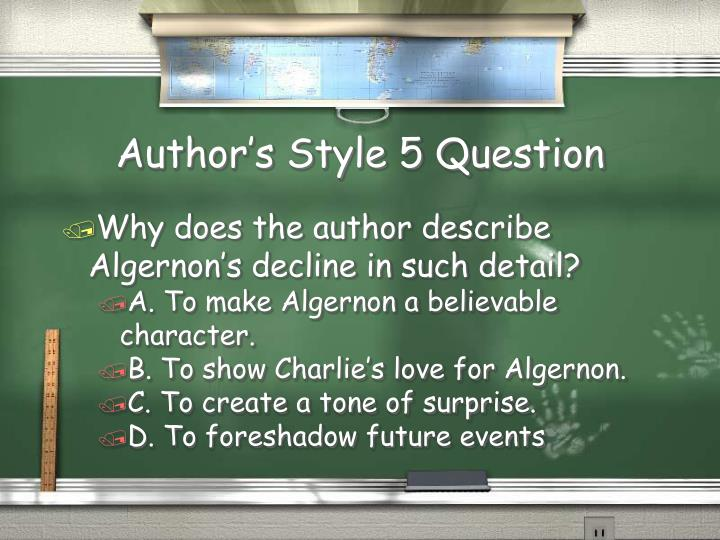 Author's Style 5 Question