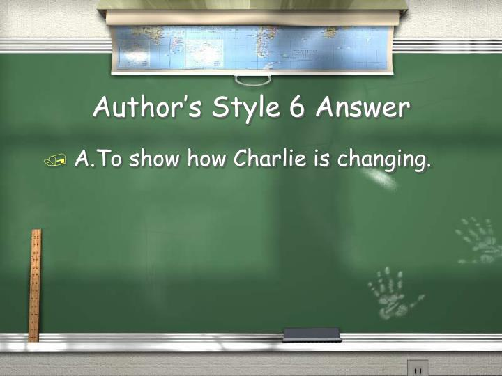 Author's Style 6 Answer