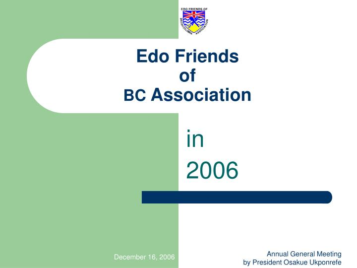 Edo friends of bc association
