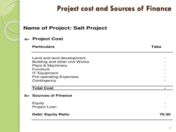 Project cost and Sources of Finance