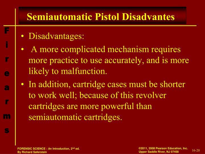 Semiautomatic Pistol Disadvantes