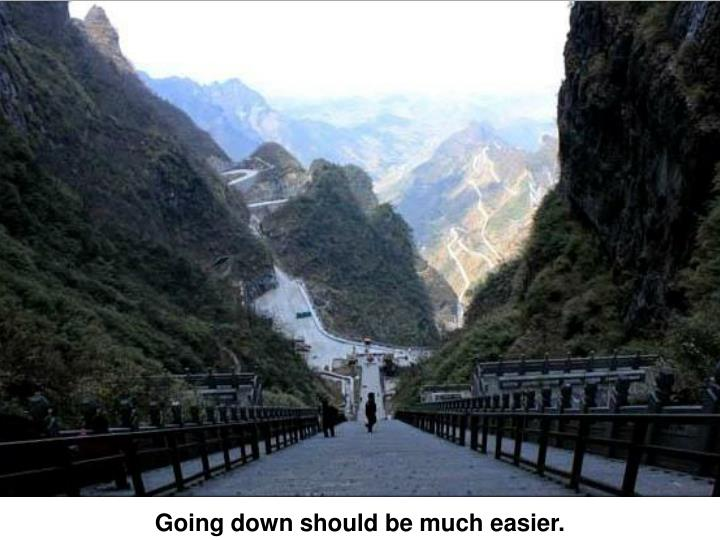 Going down should be much easier.