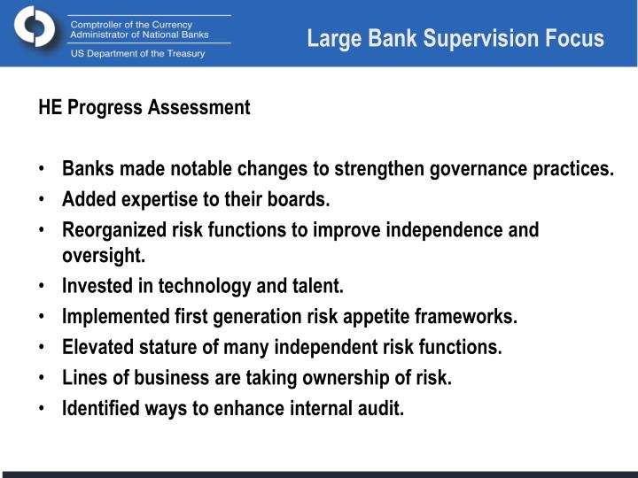 Large Bank Supervision Focus