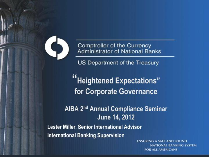Lester miller senior international advisor international banking supervision