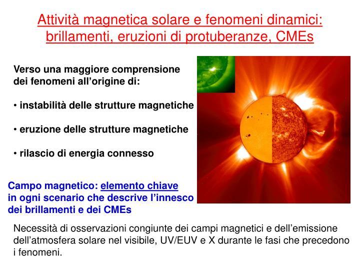 Attività magnetica solare e fenomeni dinamici: