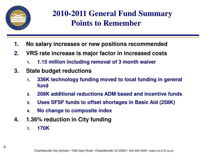2010-2011 General Fund Summary