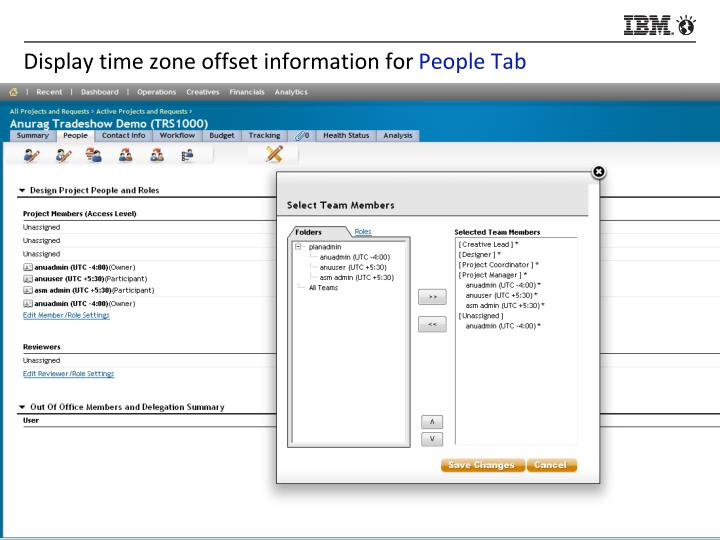 Display time zone offset information for