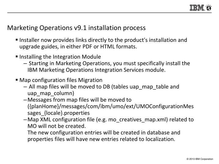 Marketing Operations v9.1 installation process