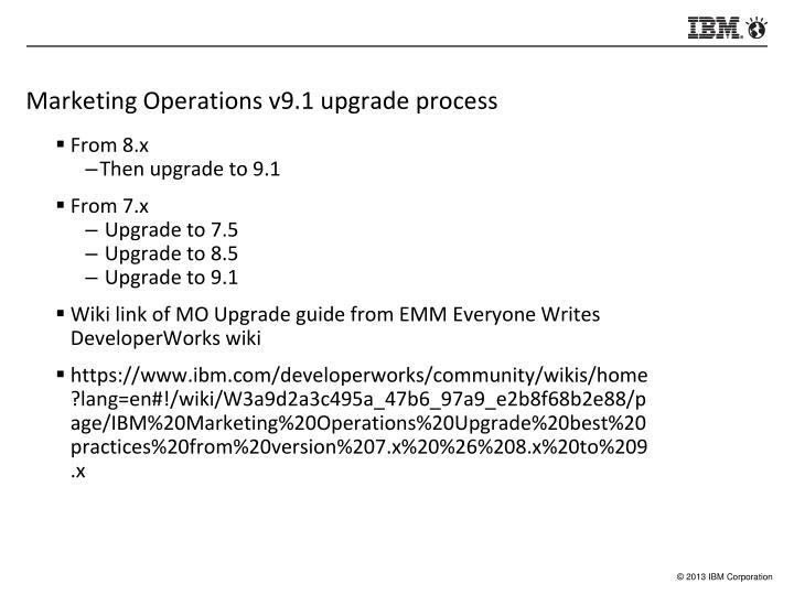 Marketing Operations v9.1 upgrade process