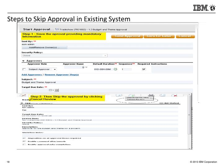 Steps to Skip Approval in Existing System