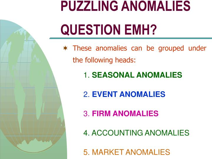 PUZZLING ANOMALIES QUESTION EMH?