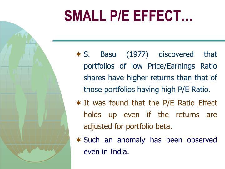SMALL P/E EFFECT…