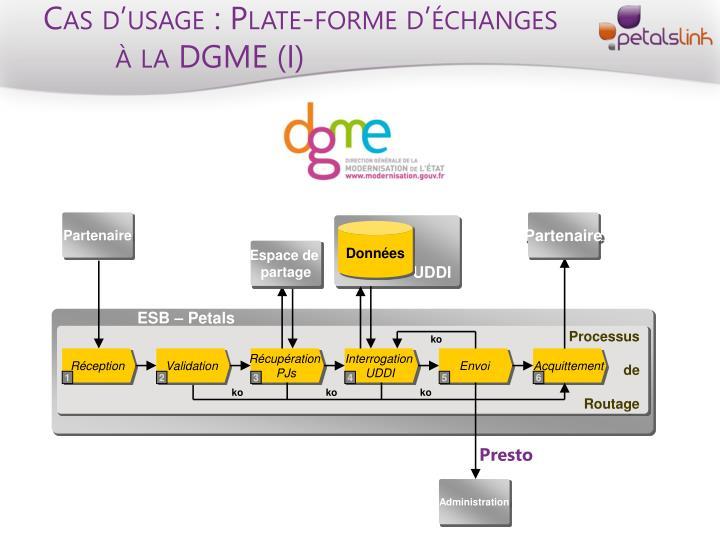 Cas d'usage : Plate-forme d'échanges à la DGME (I)