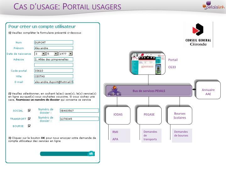 Cas d'usage: Portail usagers
