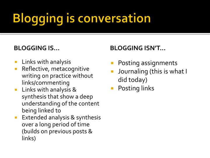 Blogging is conversation