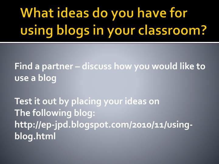 What ideas do you have for using blogs in your classroom?