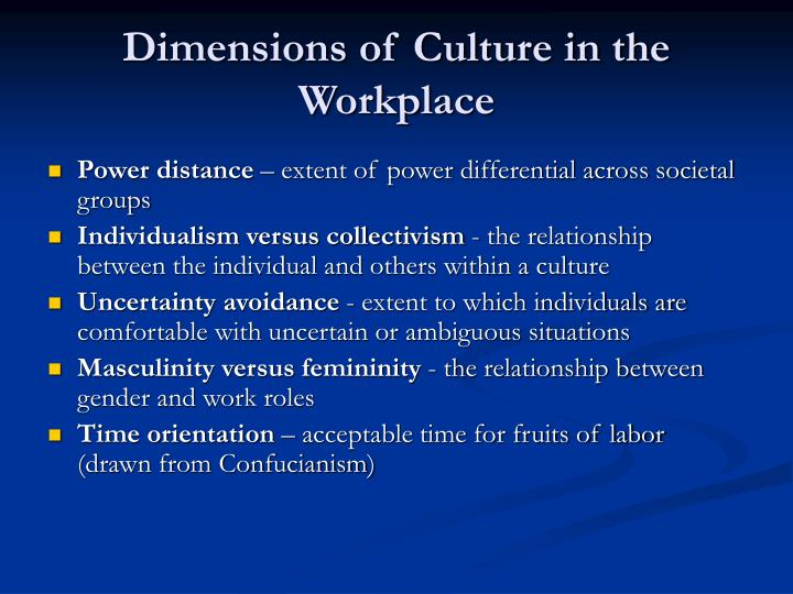 Dimensions of Culture in the Workplace