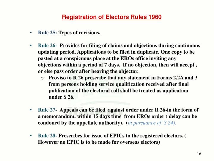 Registration of Electors Rules 1960