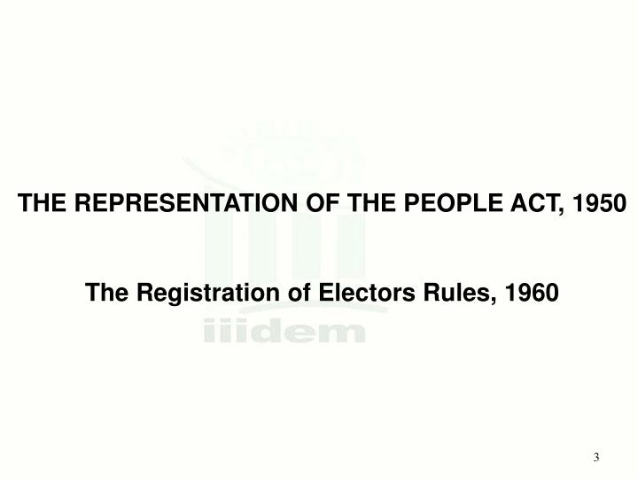 THE REPRESENTATION OF THE PEOPLE ACT, 1950