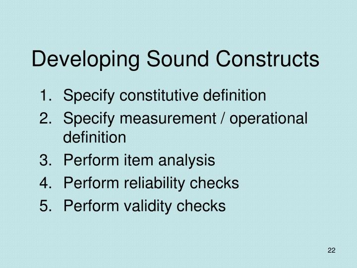 Developing Sound Constructs