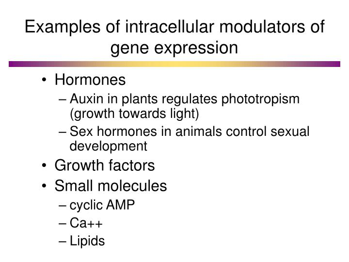 Examples of intracellular modulators of gene expression