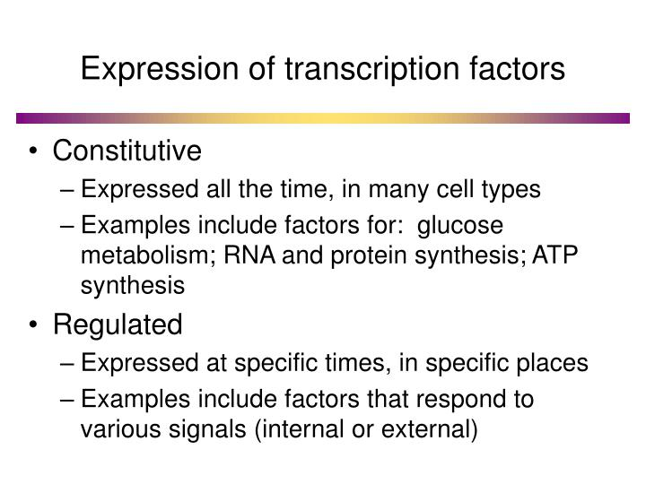 Expression of transcription factors