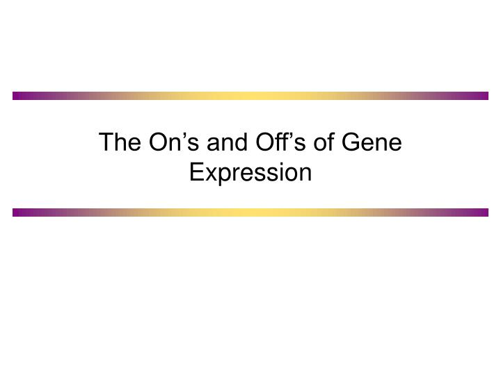 The on s and off s of gene expression