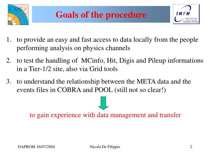 Goals of the procedure