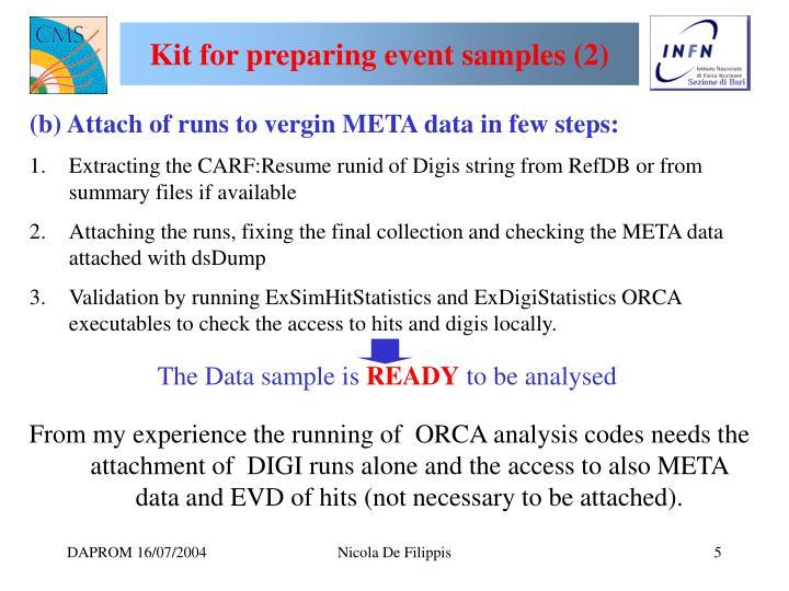 Kit for preparing event samples (2)