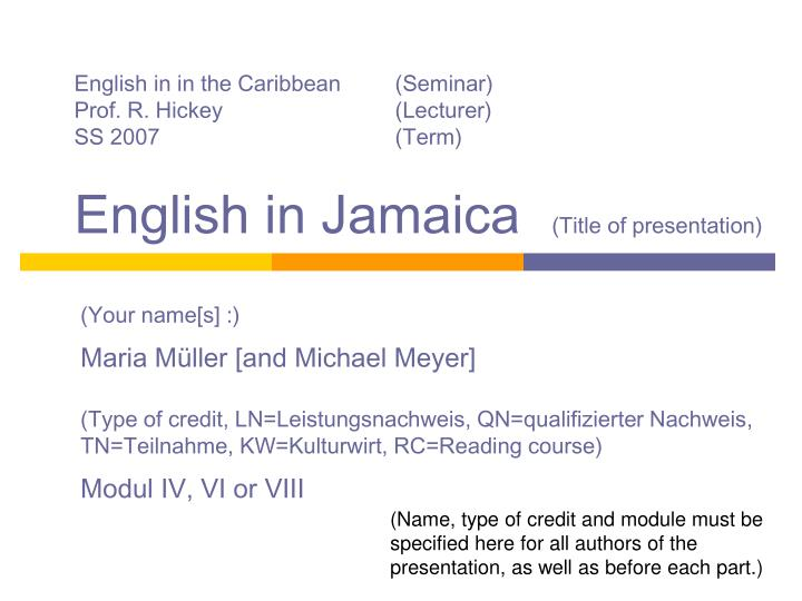 English in in the Caribbean(Seminar)