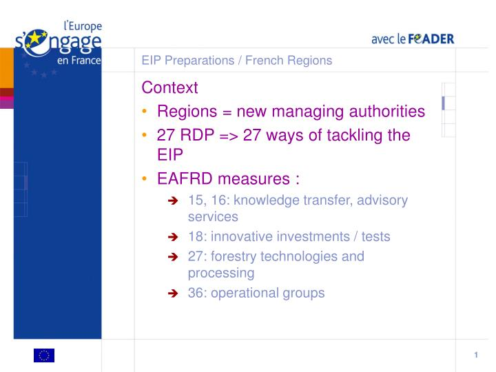 Eip preparations french regions