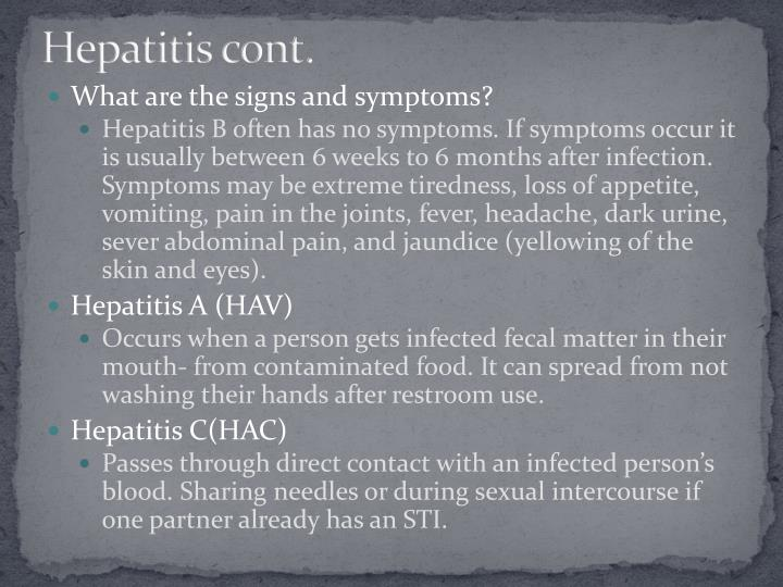 Hepatitis cont.