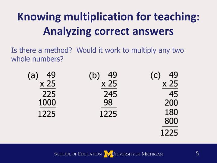 Knowing multiplication for teaching: