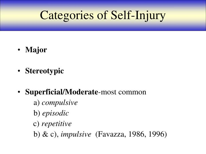 Categories of Self-Injury