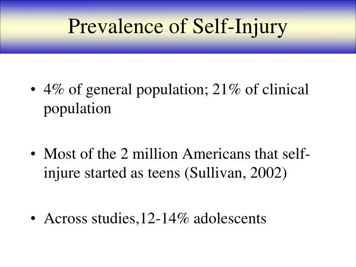 Prevalence of Self-Injury