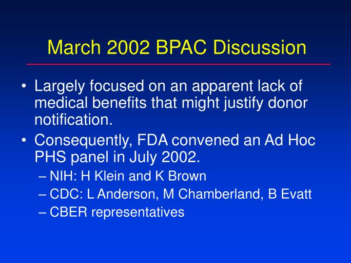 March 2002 BPAC Discussion