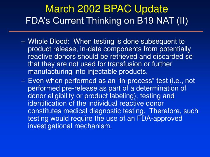 March 2002 BPAC Update