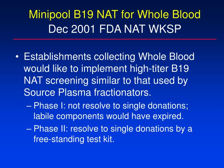 Minipool B19 NAT for Whole Blood
