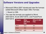 software versions and upgrades2