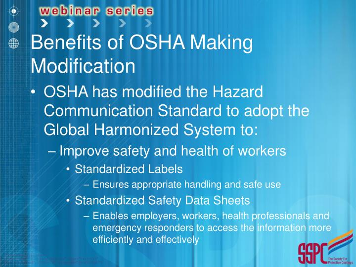 Benefits of OSHA Making Modification
