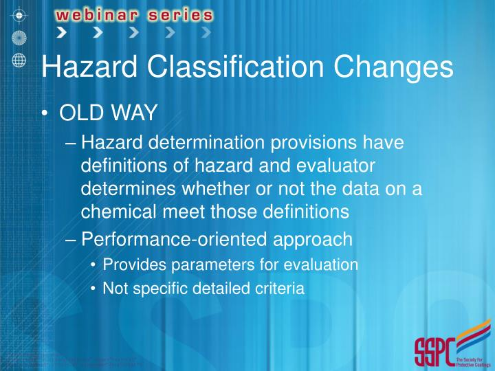 Hazard Classification Changes