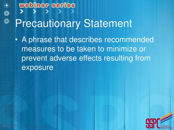 Precautionary Statement