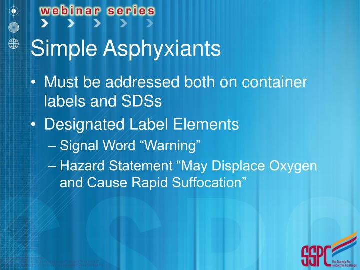 Simple Asphyxiants
