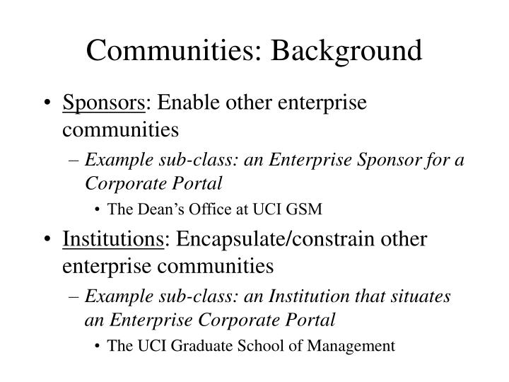 Communities: Background